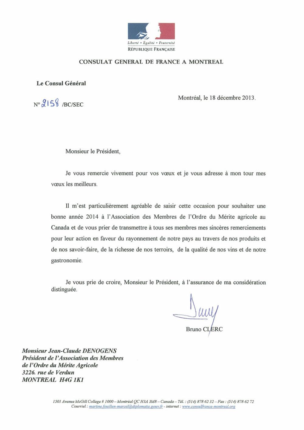 ambassadeur de France à Ottawa: voeux 2012